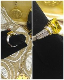 Amazing fine  lab created emerald cut Yellow canary Diamond set in Gold & Sterling Silver