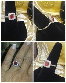 Cushion cut garnet in Sterling Silver