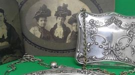 Wonder enchanting all,original Victorian photographs sterling calling card purse