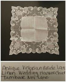 Victorian linen lace wedding handkerchief Tambour lace
