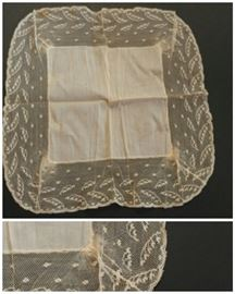 Victorian linen lace wedding handkerchief