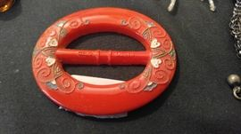 Red glass Czechoslovia belt buckle