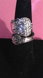 Fancy Sterling Silver spoon ring