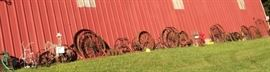 Just Some of the Available Wagon Wheels of Different Sizes and Types, Yard Art, Planters, Vintage Rusty Farm Equipment, Red Tractor Seat Stool & More!