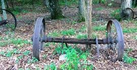 Vintage Wagon Wheels w/Axle Still Attached, One of Several.