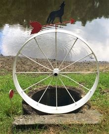 Painted, Decorative Wagon Wheel with Weather Vane.