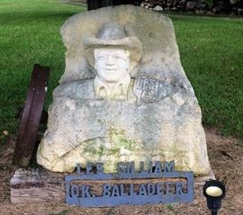 Large Stone Sculpture of Les Gilliam, the Oklahoma Balladeer