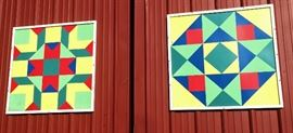 Large, Geometric Framed Barn Art.