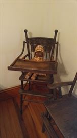 Primitive high chair with black Americana doll