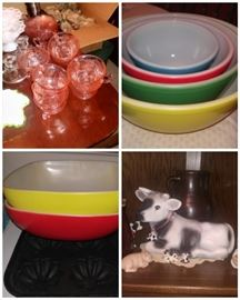 Some of the best vintage Pyrex several sets of primary color mixing bowl sets in ex condition