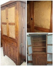Pine punch tin hutch