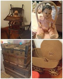 Antique trunks dolls quilts