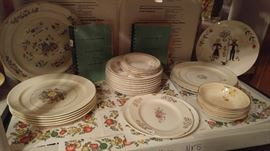 Many sets of vintage dishes