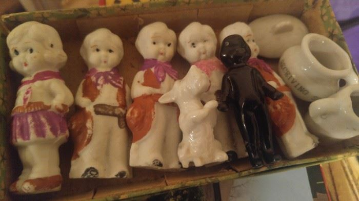 Box of vintage bisque krwpoe type dolls from the attic