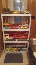 Just a few of the vintage metal toy trucks & cars Tonka hubley & more