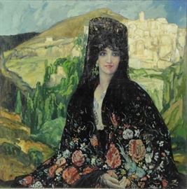 BROWNE George Oil on Canvas Spanish Beauty in