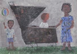 BLANCH Arnold Oil on Paper Mother with Children