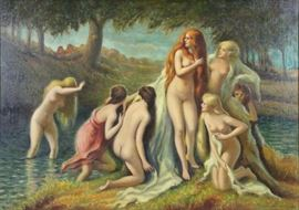 CURRY John Steuart Oil on Canvas Bathers
