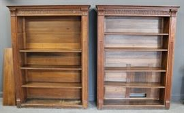 A Fine Pair of Antique Oak Open Front Bookcases