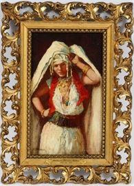 "ADDISON THOMAS MILLAR [AMERICAN, 1860–1913] OIL ON MAHOGANY PANEL, H 9.5"", W 5.5"", PORTRAIT OF A GYPSY WOMAN Lot # 2017"