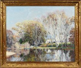"""MATHIAS ALTEN (AMERICAN, 1871-1938), OIL ON CANVAS, LANDSCAPE SCENE, H 25 1/2"""", W 31 1/2"""" Lot # 2024"""