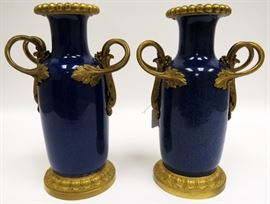"FRENCH SEVRES PORCELAIN AND BRONZE URNS 19TH.C. PAIR H 11.5"" Lot # 2045"