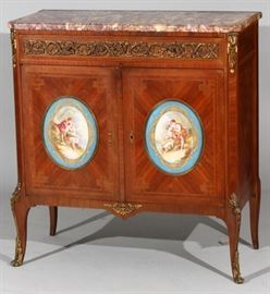"LOUIS XVI STYLE WALNUT, SEVRES AND MARBLE TOP COMMODE, 19TH.C. H 39"", L 38"" D 18"" Lot # 2061"