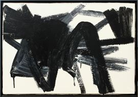 "ATTRIBUTED TO FRANZ KLINE (AMERICAN 1910-1962), OIL ON CANVAS, C. 1960, H 28"", W 38"", ""ABSTRACT COMPOSITION"" Lot # 2155"