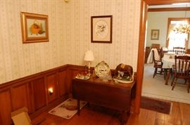 Drop Leaf table with a drawer, pegged top, Vintage chaulkware statue