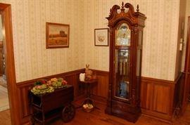 Grandfather clock & Tea Cart