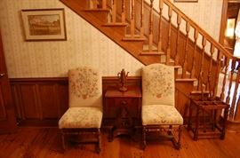 1780 upholstered with needlework chairs, umbrella stand, old single drawer stand and Old Salem tea kettle