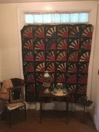 Fabulous Antique Quilt with embroidery. Antique Tables,Chair, Antique Oil Lamp,Antique Frame,etc...