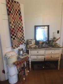 Antique Quilt,Antique Dough Cabinet,etc...
