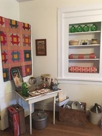 Antique Quilt, Coca Cola Trays & Crates,Enamelware, Crate,Whiskey Jugs,Pressure Cooker, Pottery Bowls, Homespun Material, Vintage Kitchen Items.