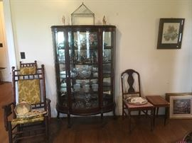 Antique Bow Front China Cabinet, Side Chair, Antique Carpet Rocker,side table. Paintings.