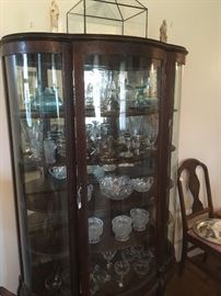 Antique Bow Front China Cabinet, Glassware & Crystal,Sterling Silver.