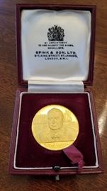 "1965 Churchill 22K gold medallion. Measures 1.5"" diameter weighs 48.84 grams total with over 44 grams in pure gold weight."