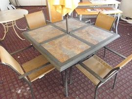 """square 46"""" patio table with 4 porcelain tile insert top and 4 chairs ********$75********* CALL AND COME DOWN NOW !!    (760) 788-0775     (760) 445-8571"""