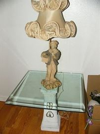 Nice Vintage chalkware lamp with vintage shade