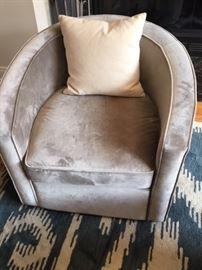 grey velvet club chair