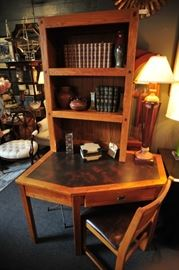 Student pine work desk with shelf and matching chair