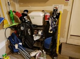 Golf clubs, coolers, cleaning, folding lawn chairs