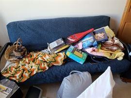 Futon, blankets, more