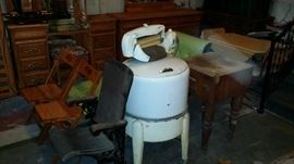 Folding chairs Salon chair Wringer washer Butcher block