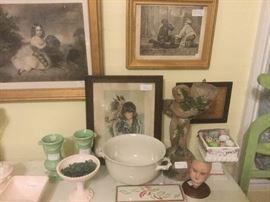 Antique engravings, stoneware, unusual milk glass