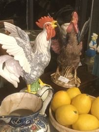 Italian and Portuguese pottery, rooster figures