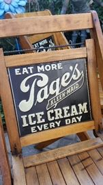 Awesome Antique Advertising Piece; Tin Double Sided Advertising Sign, Folding Wooden Chairs, Page's Ice Cream.