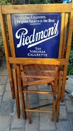Awesome Antique Advertising Piece, PIEDMONT Porcelian Double Sided Advertising Sign, Wooden Folding Chairs.