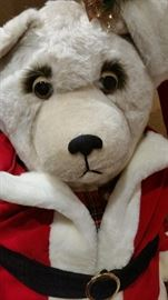 Awesome Custom Made 3' HOLIDAY BEAR, Sporting a red velvet with faux fur jacket and matching hat, plaid shirt, grey tights, matching plaid slippers. He's electric, head goes up & down, arm goes up & down showing off his mask. Pocket watch hanging on opposite side. He's a perfect addition to your holiday decor, beautifully made.