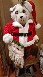 Holiday bear is in excellent condition, holding his mask, arm goes up & down.